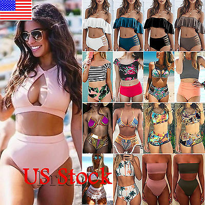 Women's High Waisted Bikini Set Push Up Padded Swimsuit Bathing Suit Swimwear