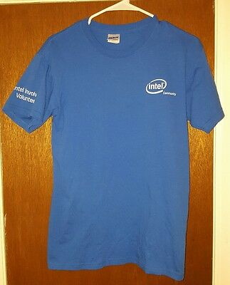 intel community blue t shirt size Small intel involved volunteer