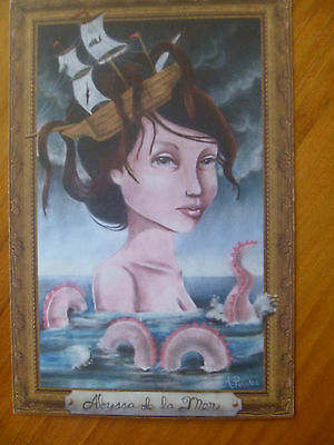 "Postcard...""abyssa De La Mer""...sea Monster...mermaid..shipwreck..death At Sea"