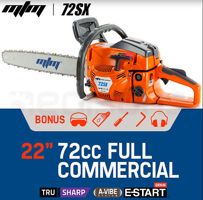 "72cc Petrol Commercial Chainsaw 22"" Bar Chain Saw E-Start Bar Cover Tool Kit"