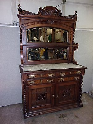 ANTIQUE WALNUT MARBLE TOP BUFFET SIDEBOARD ORGINAL FINISH-SELLING OUT Make Offer