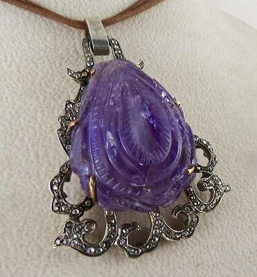Antique Old Amethyst Carved Diamond Victorian Pendant In 925 Silver & 18K Gold