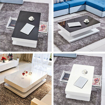 Modern High Gloss White Coffee Table w/ 2 Drawers Tempered Glass Top Livingroom