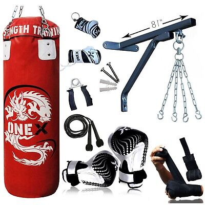 Junior Boxing Punch Bag Set 3Ft Filled Heavy Punch Bag Gloves,Chain,Bracket MMA