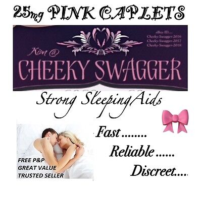 Strong Sleeping pills sleep Tablets 25mg Pink caplets x100} AMAZING VALUE