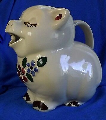 VINTAGE SHAWNEE SMILEY PIG LARGE WATER PITCHER Blue & Burgandy Flowers Near Mint