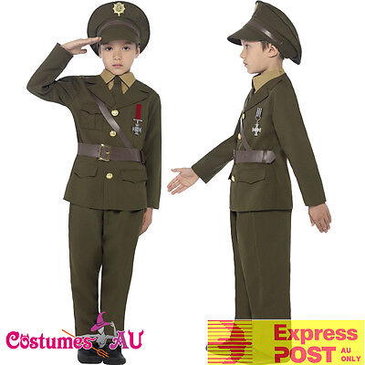 Army Officer Costume Kids Boys Ceremonial Soldier WW2 Military Uniform 40s Child