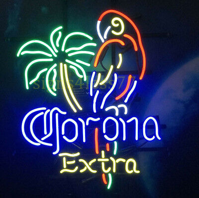 "New Corona Extra Parrot Palm Tree Beer Neon Sign 20""x16"""