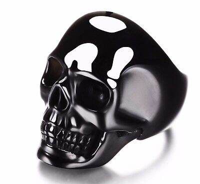 BLACK OBSIDIAN Carved Crystal Skull Ring with sterling silver, Jewelry #S853