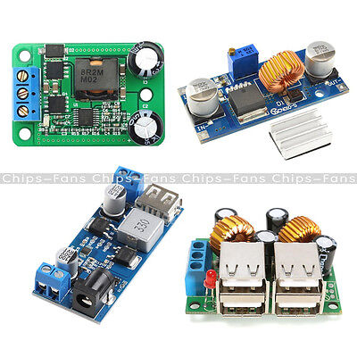4-USB Port/ XL4015 DC-DC 12V/24V to 5V 5A Buck Converter Step Down Power Supply
