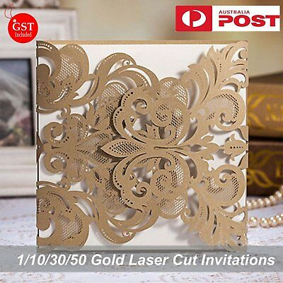 1/10/30/50 Pearl Gold Wedding Invitations Card Laser Cut Square Insert  Envelope