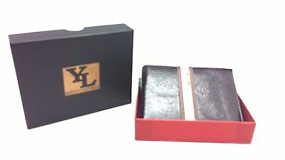YL Wholesale Lot of 18 Men Glossy Brown Genuine Leather Bifold Wallet w Gift Box