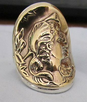 "Superbly Detailed Art Nouveau Ring.sterling Silver With Brass Relief Size ""o"""