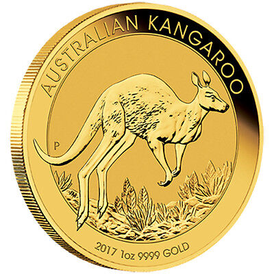 1oz Gold 2017 $100 Kangaroo Perth Mint 99.99% Pure Coin