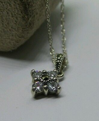 Beautiful Vintage Sterling Silver Clear Stone & Marcasite Pendant Chain Necklace
