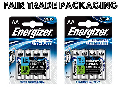 Genuine 8 x Energizer Ultimate AA Lithium Batteries Digital Camera 1.5v LR6 L91