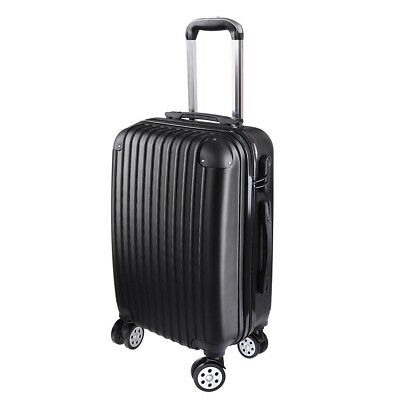 "20"" Cabin Luggage Suitcase - Hard Shell Travel Case Carry On Bag Trolley Black"
