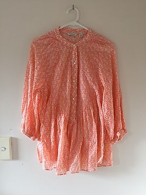 Womens Country Road 100% Cotton Top/ Blouse Long Sleeve Size M Pale Orange/white