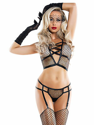 Starline Caught Up Fishnet Bralette Set Black