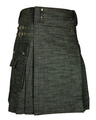 Scottish Men Black Denim Kilt Modern Utility Kilt Custom Handmade Adult Custom