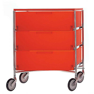 Kartell Antonio Citterio Mobil 3 Drawer Trolley Orange Ex Display SALE RRP £682