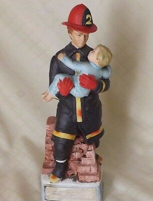 """1974 Lionstone Limited Edition Decanter """"In the Line Of Duty""""  Firefighter Child"""