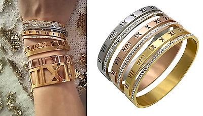 BLOGGERS best quality ROMAN NUMERAL XVI DIAMANTE OVAL BANGLE BRACELET NEW