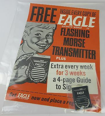 ORIGINAL EAGLE COMIC NEWSAGENTS POSTER 1960s WITH FREE GIFT TRANSMITTER