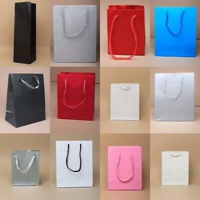 Gift Bag Coloured Cord Handle Wedding Party Occasion Glitter Red Wholesale Bulk