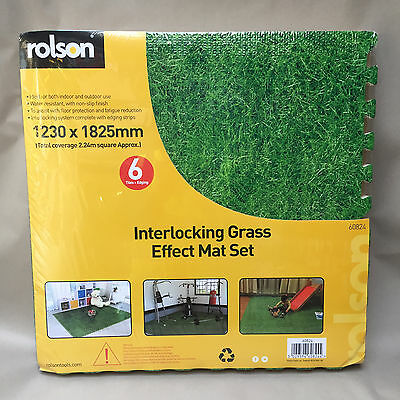 Rolson 6 Pc Interlocking EVA Grass Effect Floor Mats 1230 x 1825 x 10mm Nursery