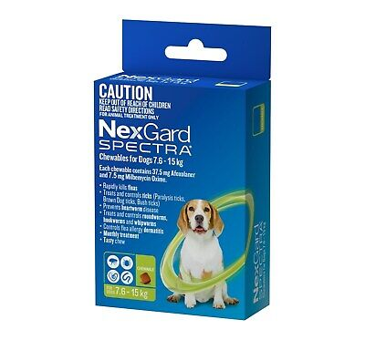 Nexgard Spectra Flea, Tick, Heart & All-Wormer Chew for Dogs 7.5-15kg