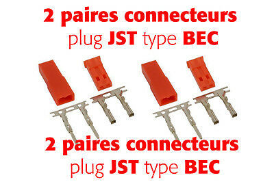 2 paires -  CONNECTEUR  JST TYPE BEC MALE FEMALE -- NEUF