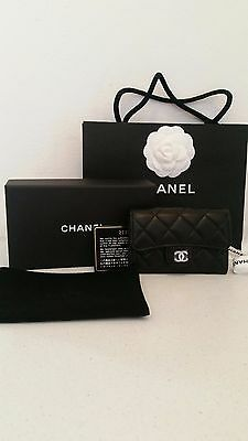 Chanel Authentic Wallet Small Card Blue Case Leather Coin Around Rare