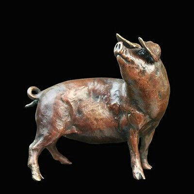 Pig Solid Bronze Foundry Cast Richard Cooper Sculpture by Michael Simpson [808]