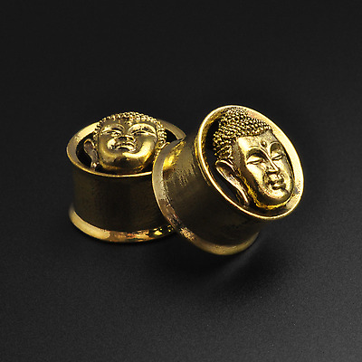 Brass Flesh Tunnels Gauges | Buddha Head | 8mm - 16mm | Lead & Nickel Free Plugs
