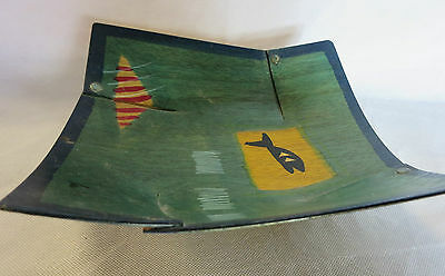 KAKADU Wooden Square Bowl Hand Painted 24 x 22 cm - signed