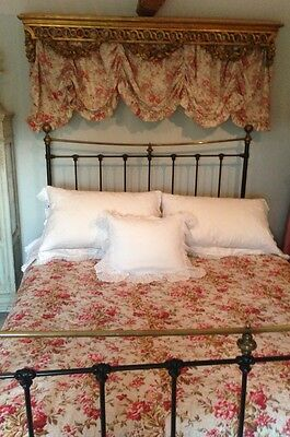 Beautiful Antique 1880s French Faded Florals Roses Reversable Boutis Large Quilt