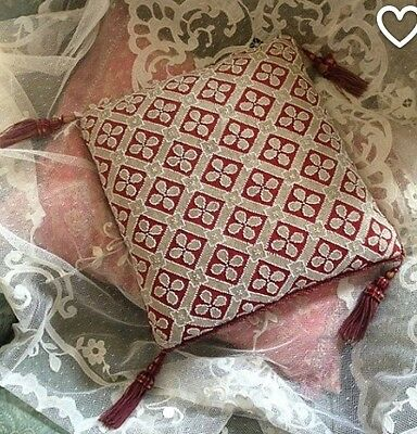 Beautiful Antique Victorian Beaded Decorative Pillow Cushion With Tassels.