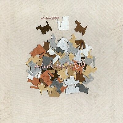 x100 Cat & Dog Punchies ~ Shades of Brown & Grey ~ Scrapbooking/Cardmaking