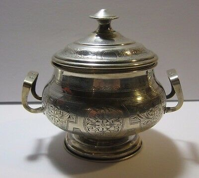 Russia - Antique Engraved Sugar Box , 0.875 Silver -  235 Gram Weight