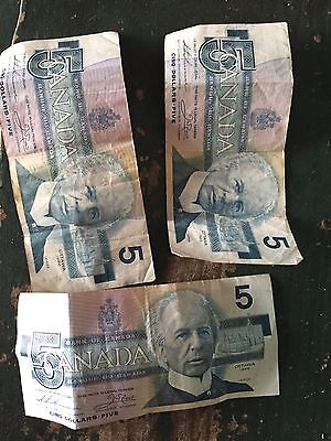 Lot Of 3 Canadian $5 Dollar Bank Note Bill  Circulated 1986 Canada
