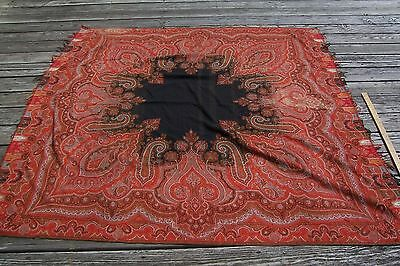 Vtg Antique WOOL Paisley Shawl 1800's 19c CUTTER