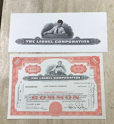1968 THE LIONEL CORPORATION Stock Certificate NEW YORK Train Vignette NM
