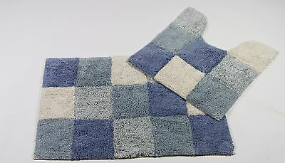 Monet Bath mat 2 PC Set BLUE WHITE 100% COTTON Bathroom rug