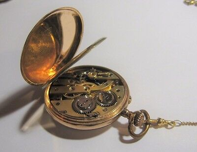 Antique Solid 14 K Gold Pocket Watch and 9K Solid Gold Chain