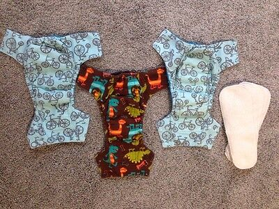 Kissa's By Kissaluvs Cloth Reusable Diapers Lot Of 3 With 5 Inserts Size 2T