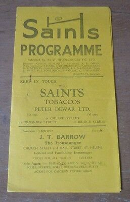 St. Helens v Wigan, 1947/48 - League Match Programme.
