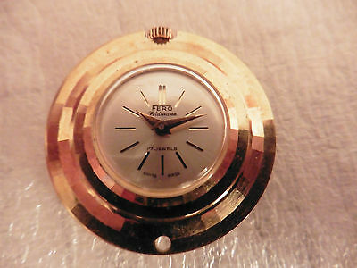 Fero Feldmann 17 JEWELS SWISS MADE Necklace Watch Pendant NOT WORKING