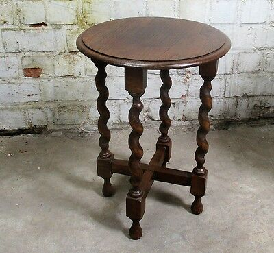 Small Barley Twist Wooden Side Occasional Wine Table Pedestal Plant Stand 17.71""