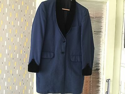 Teddy boy drape navy blue ,black velvet trim original 1970 s chest 40""